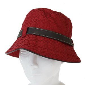 Coach Signature Canvas Leather Hat Red